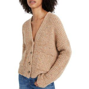 MADEWELL Speckled Rib Cardigan Sweater chuncky